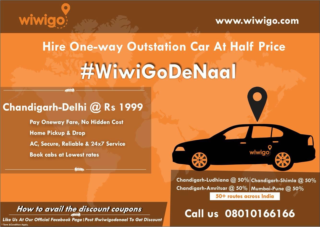 Wiwigo Book Oneway Taxi Cab Or Car At Half Price